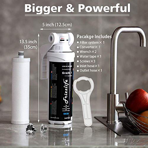 Frizzlife Under Sink Water Filter System-High Capacity Direct Connect Under Counter Drinking Water Filtration System-0.5 Micron Quick Change Removes 99.99% Lead, Chlorine, Bad Taste & Odor.