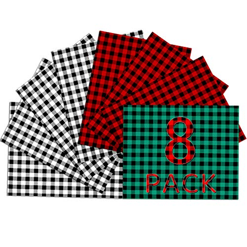 HTVRONT Christmas Buffalo Plaid HTV Heat Transfer Vinyl Bundle - 8 Sheets 12'x10' HTV Vinyl for T-Shirts, 3 Assorted Colors Plaid Iron on Vinyl Suitable for Christmas Ornament (White & Red & Green)