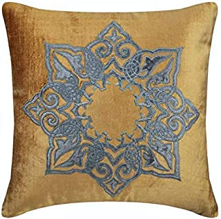 Oro fundas de almohadas, 65x65 cm fundas de cojines decorativos, apliques de terciopelo fundas para almohadones, terciopelo de algodón fundas para almohadas - Designzillas