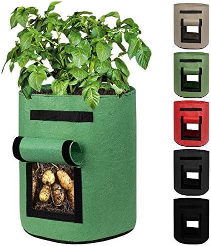 Decorlife Potato Bags 6 Pack 7 GA Heavy Duty Nonwoven Potato Pots with 2 Flaps Handles Easy product image