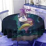 Mantel redondo de setas Big Magical Plant en el bosque de cuento de hadas a medianoche para niños, diseño de libro de las maravillas, diseño único, diámetro de 129,5 cm, multicolor