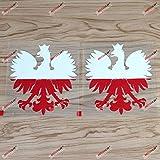 2 Pack 4'' Polska Eagle Decal Sticker Coat of arms of Poland Herb Polski Polish Flag Vinyl