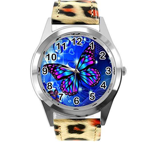 TAPORT Reloj redondo de piel con estampado de leopardo para los fanáticos