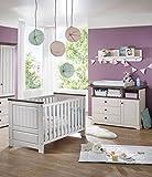 K & G Moebel GmbH Babyzimmer 4tlg. Baby/Kinderbett Bettseiten Wickelkommode Wandregal Kiefer weis