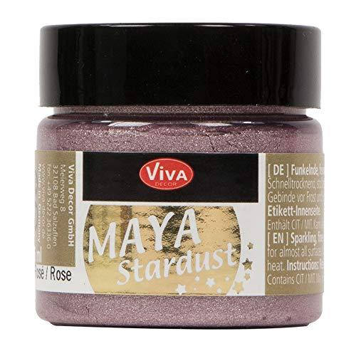 Viva Decor®️ Maya Stardust (Rosé, 45 ml) feinkörnige Glitzer Farbe - feine Effekt Paste zum Basteln - Glitter Farben für Porzellan, Beton, Steine, Papier, Glas UVM. - Wetterfest