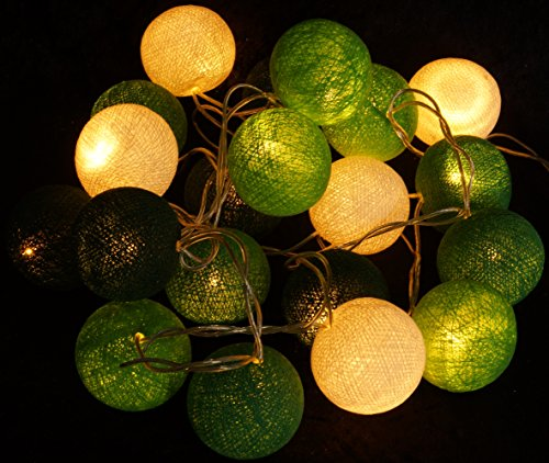Guru-Shop Stoff Ball Batterielichterkette 3xAA LED Kugel Lichterkette - Grün/weiß, Baumwollfäden, Lichterketten
