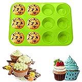 Stampo per Muffin in Silicone,Teglia per Muffin in Silicone,Teglia per Cupcake,Muffin in Silicone da 12 Tazze,Teglia MuffinMini Stampi per Muffin Cupcake,Per Torte Fatte in Casa,Muffin (verde)