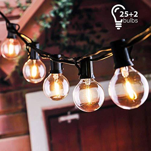 Schnur Lichterkette, Tronisky Lichterkette Außen 25Ft G40 Globus String Lichter Warmweiß Glühbirne Wasserdicht Innen und Außen Deko Lichterketten für Weihnachten, Terrasse, Café, Garten, Party