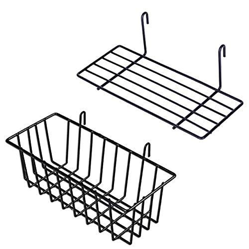 Gaosheng Juego de 2 Cestas de Almacenamiento Colgantes de Metal, Accesorios de Rejilla de Pared, Estantes de Malla, Estante de Almacenamiento Cocina Dormitorio Cuarto de baño