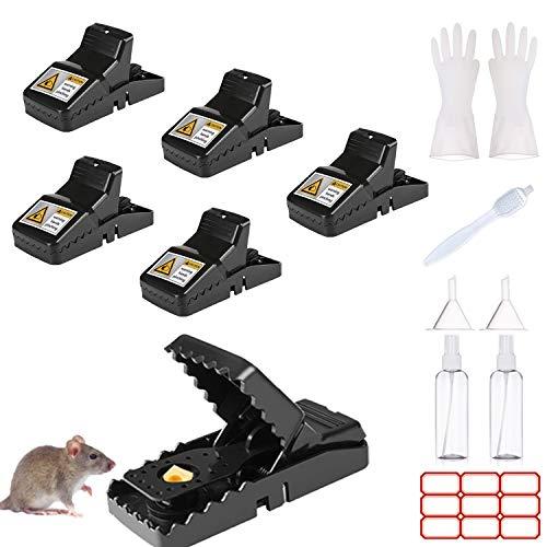 Euiooctory Trampas para Ratones (Conjunto de 6 + 8), Trampas para Ratas Profesionales, Trampas Ratones higiénica y eficiente y se Puede reutilizar en Interiores y Exteriores.
