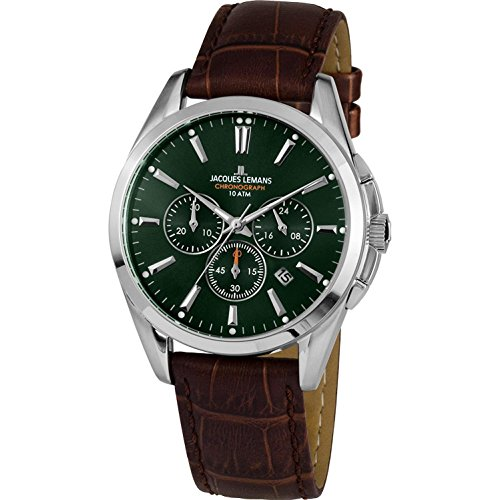 Jacques Lemans Herren Analog Quarz Uhr mit Leder Armband 1-1945C