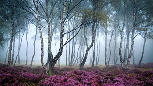 WSQYYY 1000 Stück Puzzles Aus Holz Waldwildblumen Nebeln Am Frühen Morgen Lustige Puzzle-Familienkinder-Lernspiele