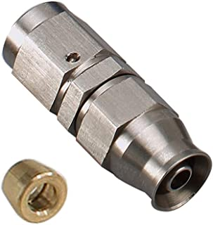 Stainless Steel Straight Swivel Female -3AN 3/8-24 Thread to AN3 Teflon PTFE Hose End Brake Fitting with Brass Olive Insert