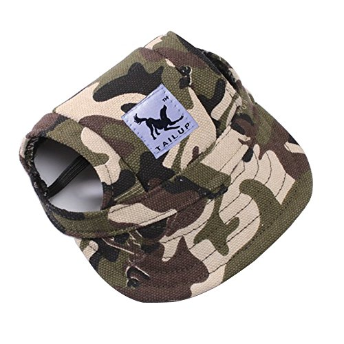 BBEART Dog Hat,Dog Sunscreen Hat Baseball Cap Outdoor Sports Hat with Ear Holes and Chin Strap Adjustable Hat for Small and Medium Dog (M, Camouflage)