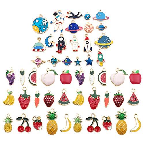 EXCEART 80 Piezas de Colgantes de Esmalte Mezclado Aleación de Oro Surtido Plateado Fruta Espacio Joyería Hacer Encantos DIY Colgar Cuentas para Pendientes Pulsera Llavero Joyería