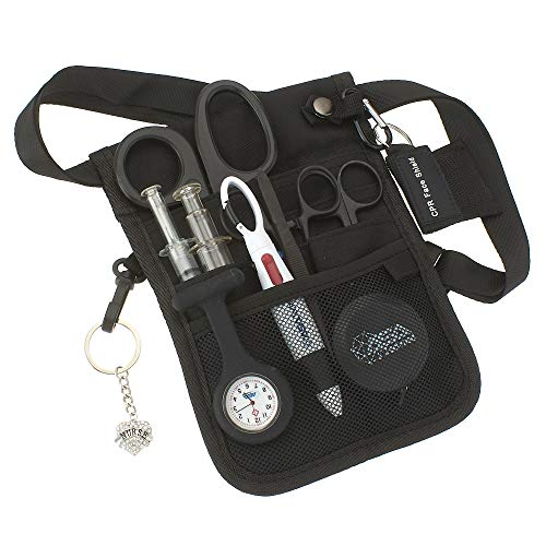 AsaTechmed Medical Belt Utility Kit, Nurse Pro Pack Pocket Organizer Pouch Hip Bag | Antimicrobial, EMT, CNA, NP, PA, Student, Nurse Kit (Black)