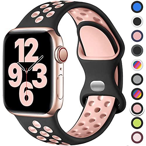 Upeak Correa Compatible con Correa Apple Watch 40mm 38mm 42mm 44mm, Pulsera de Silicona Transpirable con Hebilla de Doble Orificio, para iWatch Series 6 5 4 3 2 1 SE, 38mm/40mm-S/M, Negro/Rosa