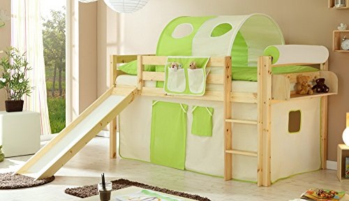 lifestyle4living Hochbett für Kinder in braun mit Rutsche, Vorhang in grün-beige   Spielbett aus Kiefer Massivholz mit Einer Liegefläche 90x200 cm