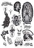 Tatsy Chicano Set, Tatuaje Temporal, Disfraz, Pegatina, Para Hombres Y Mujeres, Tatuajes Falsos, Cultura Chicana, Gangsta Cultura De Estilo Chicana, Bandolero, Lowrider, Diseños Únicos, Realistas