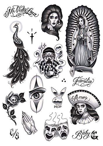 Tatsy Chicano Set, Tijdelijke Tattoo Cover Up Sticker voor Mannen en Vrouwen, Lichaamstemperatuur Neppe Tattoos, Chicana Gansta Lowrider Stijl Cultuur, Unieke Realistische Ontwerpen