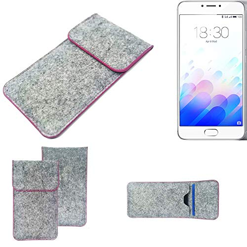 K-S-Trade Handy Schutz Hülle Kompatibel Mit Meizu M3 Note Schutzhülle Handyhülle Filztasche Pouch Tasche Hülle Sleeve Filzhülle Hellgrau Pinker Rand