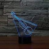 Lámpara de noche LED multicolor con degradado de color en forma de violín 3D, lámpara de mesa de instrumentos musicales para dormitorio, USB, regalo para niños