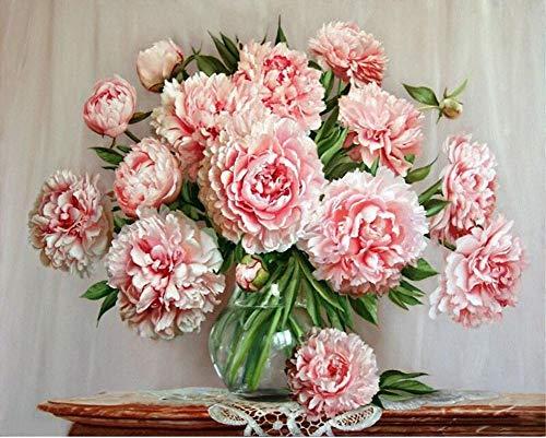 WOWDECOR Kit de pintura por números para adultos y niños, pintura al óleo, diseño de flores frescas, color rosa, 40,6 x 50,8 cm (X7016, sin marco)
