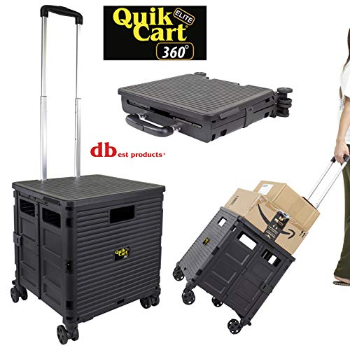 dbest products Quik Cart Elite 360 Four Wheeled Rolling Crate Teacher Utility with seat Heavy Duty Collapsible Basket with Handle, Black