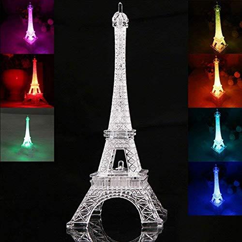 LEDMOMO Lumière colorée de la Tour Eiffel Lumière de Nuit Décoration de style Paris Lumière LED Lampe acrylique de chambre
