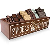 S'mores Station Box S'mores Bar Holder Farmhouse Kitchen Decor Rustic Smores Roasting Station Wood Organizer Camping BBQ Storage Teacher Gift