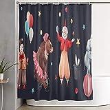 Duschvorhang aus Polyestergewebe für die Ballerina des Badezimmerbären auf dem Fahrrad Elefant auf dem Ballhut mit Hase mit 12 Plastikhaken dekorative Badevorhänge 72 x 72
