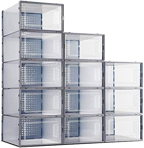 Shoe Boxes Clear Plastic Stackable Secret Space 12 Pack Clear Shoe Storage Box Organizer for product image