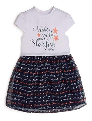 GUESS Girls' Little Jersey and Embroidered MESH Starfish Dress, True White, 3T