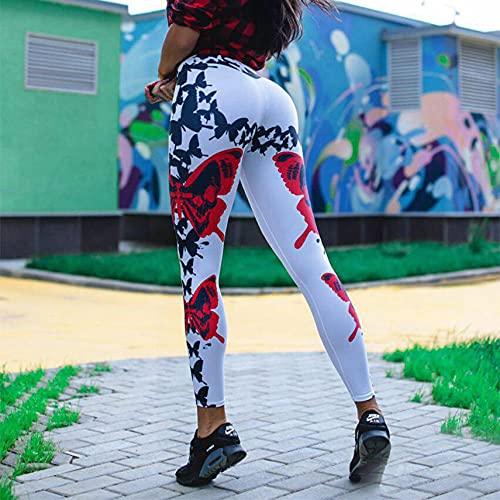 ArcherWlh Yoga Pantalones Mujer,Nuevo Arco Digital Estampado Leggings Cadera Estiramiento Alto Cintura Yoga Entrenamiento Pantalones Mujeres-Blanco_L
