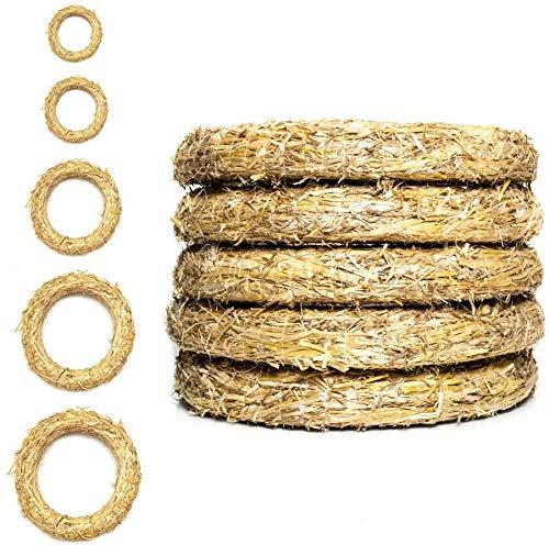 DekoPrinz® Strohkränze, 5 Stück | ø 20 cm Durchmesser | 3 cm Stärke | Strohrömer, Türkranz, Deko-Kranz, Kranz-Rohling, Strohring