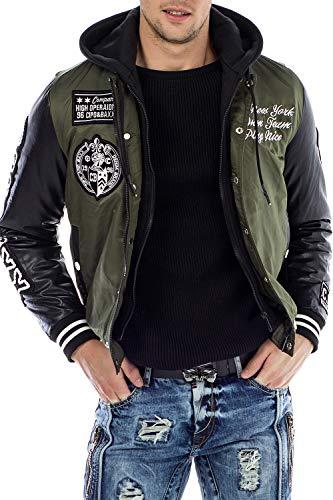 Cipo & Baxx Herren Jacke Bomberjacke Kunstleder Jacket Sweatkapuzen Jacke Winterjacke Übergangangsjacke Gr.XXL Khaki