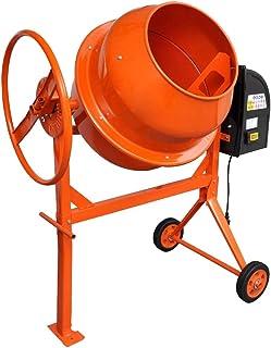 Hormigonera eléctrica de hormigón, 140 L, 650 W, amasadora eléctrica de cemento para mezclar hormigón, mortero y cemento, hornillo de acero con 2 ruedas, naranja