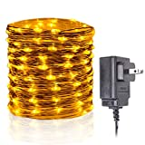 HAHOME Orange Fairy String Lights Plug in lights with Power Supply for Holiday Decoration Amber lights 33Ft 100 LEDs