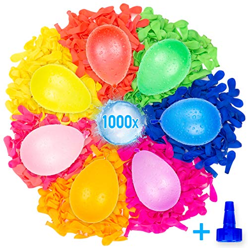 Belmalia 1000 Water Bombs Mega-Pack in Neon Colours | Water Balloons & Filling Aid Attachment For Tap | Eco-Friendly Material