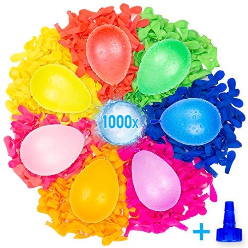Belmalia Mega Pack De 1000 Globos De Agua Colores Neón | Accesorio De Ayuda De Llenado para Grifo | Material Eco-Amigable