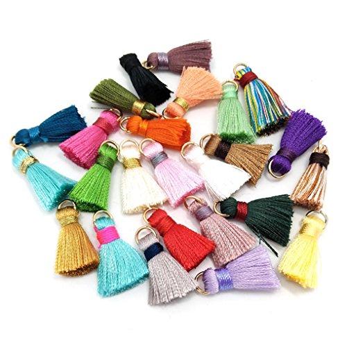 100 nappe morbide fatte a mano in seta, piccole nappe colorate, nappe per orecchini, colori assortiti