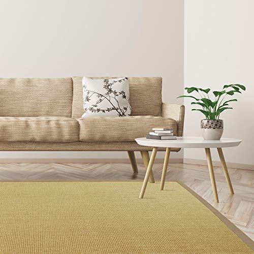 Floordirekt Amazonas - Alfombra de sisal con Ribetes, 9 tamaños, Alfombra para salón, Alfombra de Fibra Natural, Beige, 200 x 200 cm