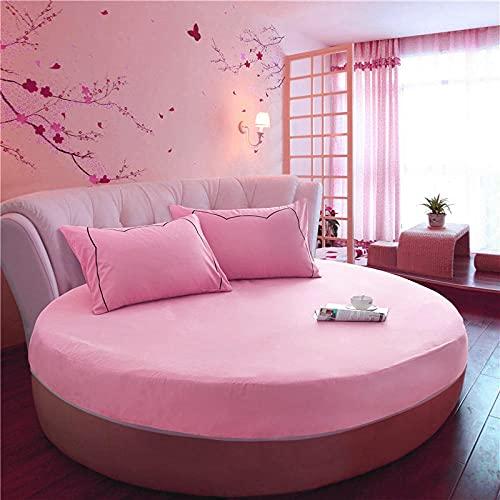 XGguo Protector de colchón Acolchado - Microfibra - Transpirable Funda Protectora de sábana Redonda de algodón-Pink_2m