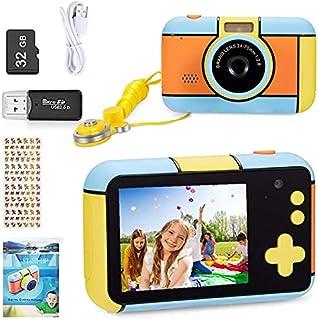 YunLone Appareil Photo pour Enfant 24MP Selfie Caméra Numérique 1080P HD Caméscope Vidéo pour Enfants avec Carte SD 32G,2....
