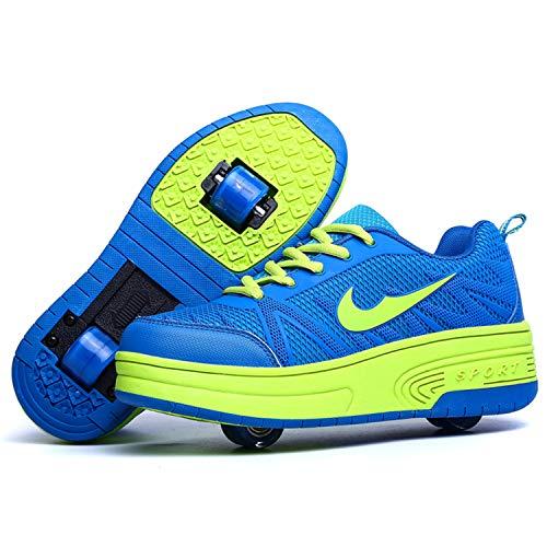 Wasnton Skater-Schuhe / Kinder-Turnschuhe mit 1-2Rollen, Skateboardschuhe, Blau - Blau2 - Größe: 36 EU Estrecho