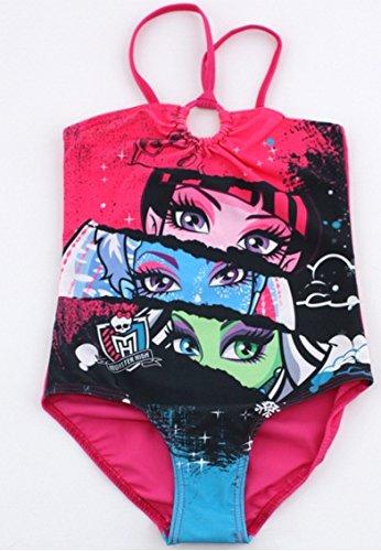 Monster High Badeanzug 1pièce-Monokini, Fuchsia für Kinder Mädchen 10Jahre mit dem Bild von von Draculaura, Abbey Bominable, Puppe und & Frankie Stein