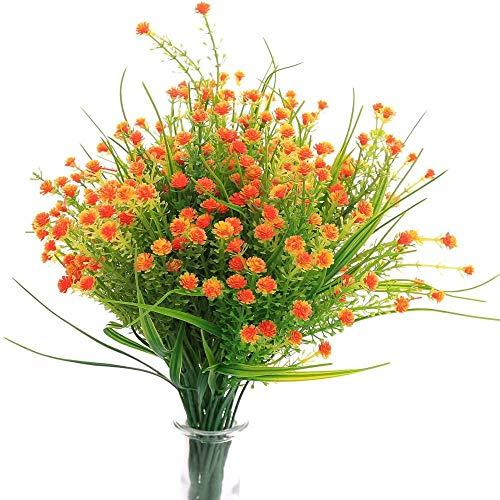 yueyue947 / Flores Artificiales Gypsophila Aliento del bebé Plantas de Agua Falsas Ramo 6 Plantas Boda Ramo de Novia Decoración de Navidad de Oficina en el hogar al Aire Libre 6 Piezas-Naranja