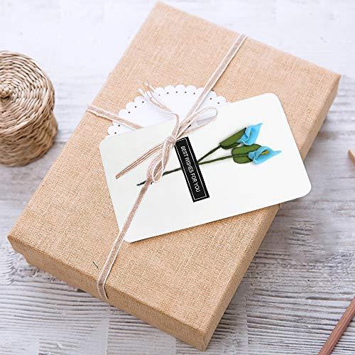 Dylan-EU 4 Grußkarte mit 4 Geschenk Umschlag Dankskarten Retro Einladungskarte mit Plastikblume Danken Ihnen Karten für Valentinstag Danksagung Geburtstag Muttertag - 2