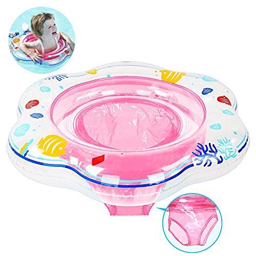 Anillo de natación para bebé, flotador de natación inflable de la piscina del bebé con asiento para niños Piscina de natación, Flotador de natación para bebé para niños pequeños 6-36 meses (Pink)