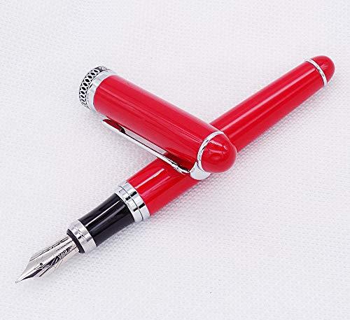 Pluma estilográfica clásica Duke D2, barril rojo y clip plateado de punta mediana con estuche para bolígrafos